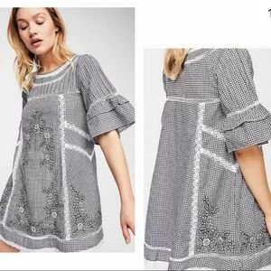 Free people sunny day checkered embroidered dress